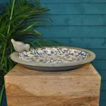 Ditsy Blue & White Ceramic Bird Bath by Fallen Fruits
