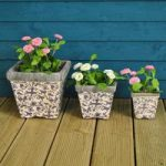 Aged Ceramic Square Flower Pots (in Blue) by Fallen Fruits