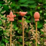 Terracotta Bamboo Cane Toppers (Pack of 3) by Gardman