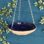 Ceramic Hanging Blue & White Bird Bath by Gardman
