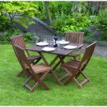 Victoriana 5 Piece Folding Wooden Garden Furniture Set by Kingfisher