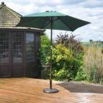 Wooden Stemmed 2.4m Garden Parasol in Green by Kingfisher