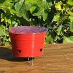Portable Red Bucket Barbecue by Kingfisher