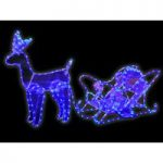 Reindeer & Sleigh Ice Blue Rope Light