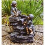 Boy, Girl & Rock Fountain Outdoor Water Feature (Mains) by Kingfisher