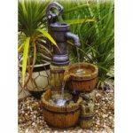 Water Pump & Barrels Outdoor Water Feature (Mains) by Kingfisher