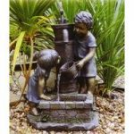 Boy, Girl & Water Pump Outdoor Water Feature (Mains) by Kingfisher
