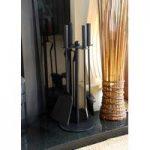 5 Piece Fireplace Companion Set with Ash Shovel, Brush, Tongs & Poker