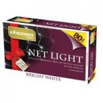 80 LED Bright White Net String Lights (Battery) by Kingfisher