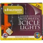 120 LED White Icicle String Lights (Battery) by Kingfisher