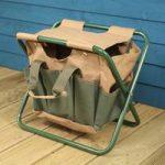 Garden Tool Storage Seat in Green & Brown by Fallen Fruits