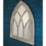 Wooden White Wash Gothic Arch Garden Mirror by Fallen Fruits