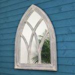 Wooden Grey Gothic Arch Garden Mirror by Fallen Fruits