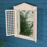 White Wooden Mirror with Lattice Shutters by Fallen Fruits