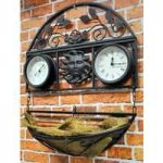 Garden Clock and Thermometer with Basket by Kingfisher