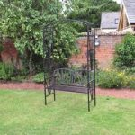 Black Steel Garden Arch with Seat by Kingfisher