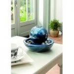 Ceramic Blue Orb Indoor Water Feature with LED Light by Gardman