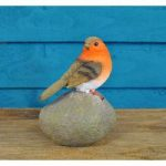 Robin on a Stone Resin Garden Ornament