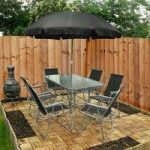 Metal and Textoline 8 Piece Garden Furniture Set by Kingfisher