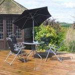 Delux Metal and Textoline 6 Piece 4 Seat Garden Furniture Set by Kingfisher