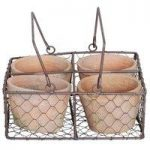Terracotta Plant Pot & Wire Basket Set (4 Pots) by Fallen Fruits