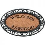Welcome Design Oval Rubber Backed Coir Doormat by Fallen Fruits