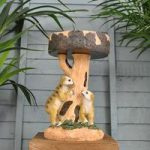 Solar Powered Meerkats with Bird Bath Garden Light by Kingfisher