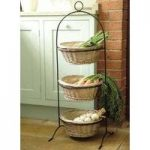 Metal Frame with Three Willow Baskets Vegetable Rack