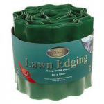 Green Plastic Lawn Edging Roll (15cm x 9m) by Kingfisher