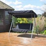 Metal 2 Seater Swinging Hammock Bench with Canopy by Kingfisher