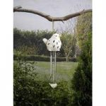 Ceramic Bird Wind Chime Light in White (Solar) by Smart Garden