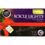 180 LED White Multi-Action Icicle String Lights (Mains) by Kingfisher