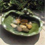 Green Frog Glazed Ceramic Outdoor Water Feature (Solar) by Smart Garden