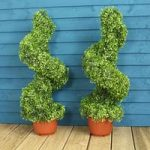 Pair of Leaf Effect Artificial Topiary Swirl Shaped Trees (80cm) by Gardman