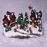 Christmas Scene Ornament with Flying Sleigh & Sound by Kingfisher