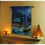 Moonlight In Vermont Christmas Tapestry With LED Lights Xmas Wall Art by Premier