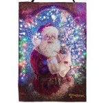 Santa with Check List Fibre Optic Christmas Pre-Lit Tapestry