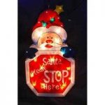 Christmas Xmas Light Up Sign Decorations Santa Please Stop Here by Kingfisher