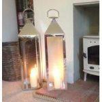 Silver Hampton Candle Lanterns 77cm (Set of 2) by Gardman