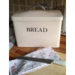 Enamel Metal Bread Bin in Cream by Garden Trading