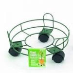 Round Metal Plant Caddy Pot Mover in Green (25cm) by Gardman