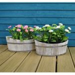 Boat Shaped Garden Planters Whitewashed (Set of 2) by Rustic Garden