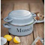 Enamel Mussel Pot in Flint by Garden Trading