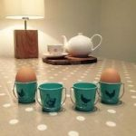 Egg Holder Cup Buckets – Vintage Blue with Hens by Eddingtons