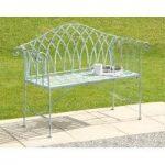 Gloucester White Cast Iron Garden Bench by Suntime