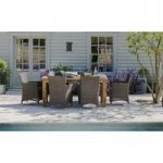 St Mawes Reclaimed Teak & Six Rattan Chairs Garden Furniture Set by Garden Trading