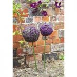 Pair of Purple Clover Leaf Effect Artificial Topiary Stake (75cm) by Smart Garden