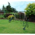 Kids Outdoor Play Multi Functional Area with Swing Slide Seesaw Set by Kingfisher