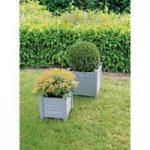Wooden Square Garden Planters in Grey (Set of 2) by Fallen Fruits