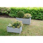 Wooden Rectangular Trough Garden Planters in Grey (Set of 2) by Fallen Fruits
